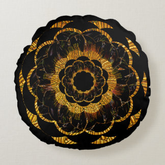 Pillow | Gold Mandala Flower Round Pillow