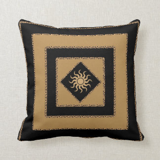 Pillow - Golden Brown Black Stripe w/sun center