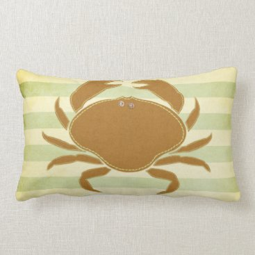 Beach Themed Pillow: Green & Brown Crab Lumbar Pillow
