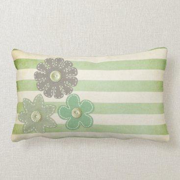 Beach Themed Pillow: Green & Grey Flowers Lumbar Pillow