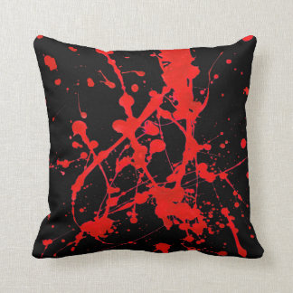 Pillow in modern abstract black&red sprayed style