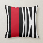 Pillow in modern abstract style, black, white &red