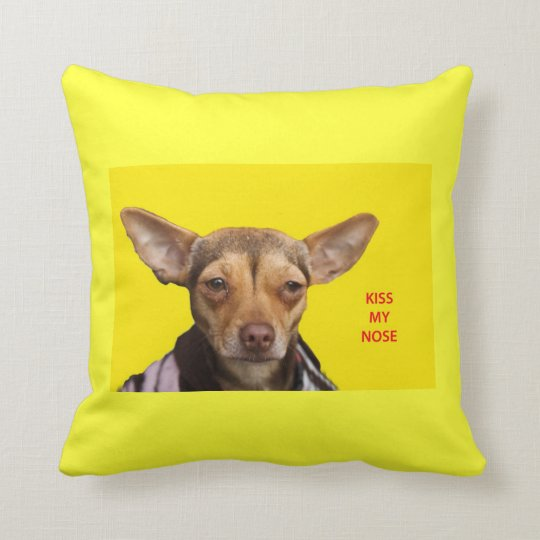 Pillow, Kiss My Nose Chihuahua Throw Pillow