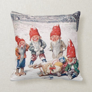 Pillow, Laughing Elves, Gifts, and Snow Throw Pillow