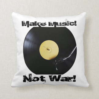 Pillow: Make Music, Not War Throw Pillow