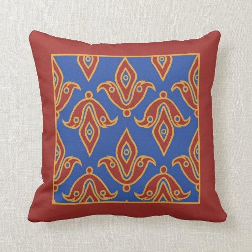 Pillow, Maroon, Blue, Gold, Fleur de Lys Pattern Throw Pillow