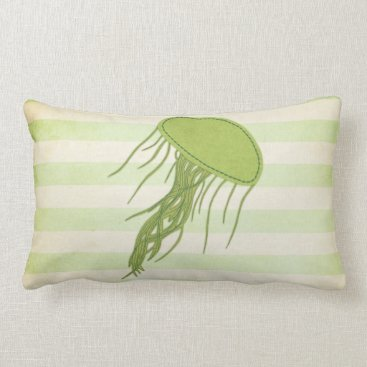 Beach Themed Pillow: Mint Green Jellyfish Lumbar Pillow