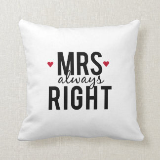 Pillow Mrs. always right design with red hearts