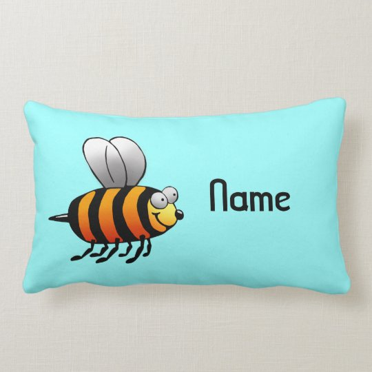 Pillow, Name Template, Cute Bee Cartoon Lumbar Pillow