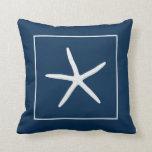 Pillow, navy blue, white seastar