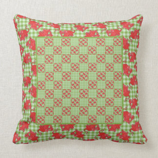 Pillow or Cushion Cute Red Dragon on Green Gingham