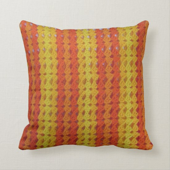 Pillow - Orange Afghan pattern