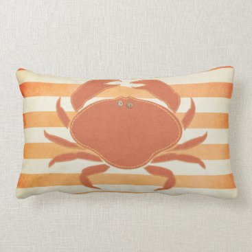 Beach Themed Pillow: Orange & Cream Crab Lumbar Pillow