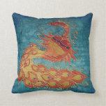Pillow: Original handpainted silk peacock
