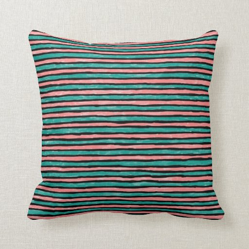 Pillow, Painted Stripes, Teal and Orange Throw Pillow Zazzle