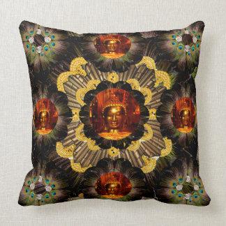 Pillow | Peacock Feathers Gold Mandala Buddha