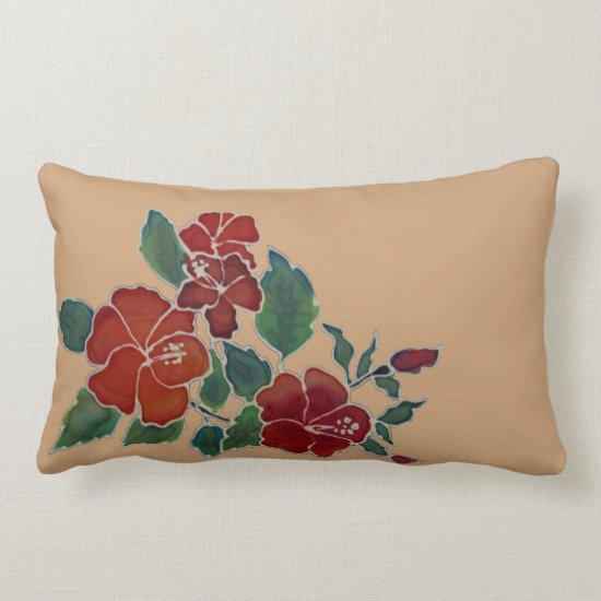Pillow - Red Hibiscus Flowers