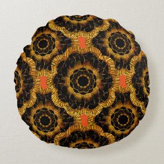 Pillow | Retro Vintage Gold Flower Mandala Round Pillow