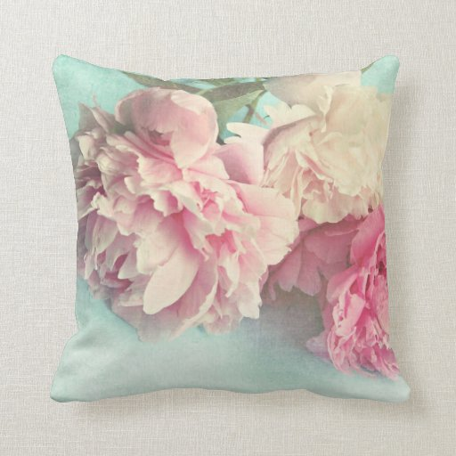 pillow shabby chic pink peonies Zazzle