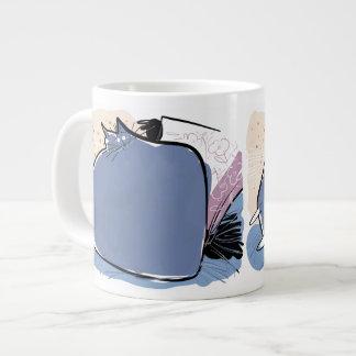 Pillow shaped violet cushion cat 20 oz large ceramic coffee mug