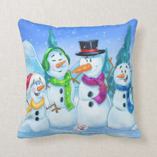Pillow snow family snowmen