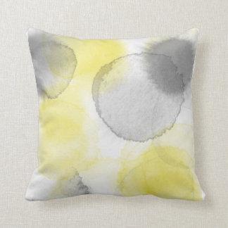 Pillow Square Watercolorr Splash Coll Lemon/Coal
