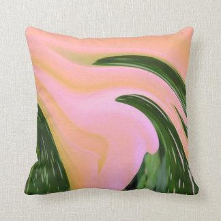 Pillow Throw, Peach Pink, green melted paint