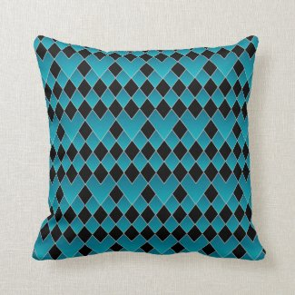 Pillow- Turquoise and Black Pattern Design