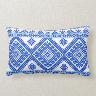 Pillow Ukrainian Cross Stitch Embroidery Blue