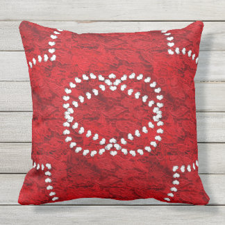 Pillow-unique design, red lace and white hearts outdoor pillow