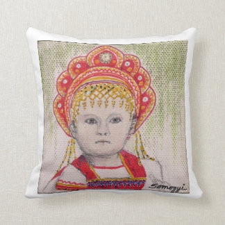 Pillow w/ orig. art Russian child in folk costume