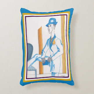 Pillow w/ original art of androgynous model accent pillow