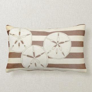 Pillow: White & Brown Sand Dollar Lumbar Pillow