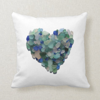 Pillow with a Sea Glass Heart from Puerto Rico