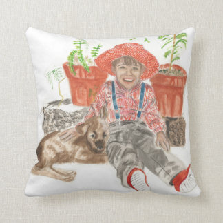 Pillow with boy and his dog watercolors