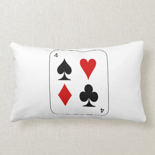 Pillow with card with four suits.
