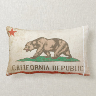 Pillow with Distressed Flag from California