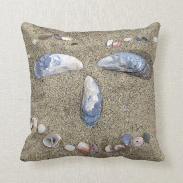 Beach Themed Pillow with face made in the sand with sea shells