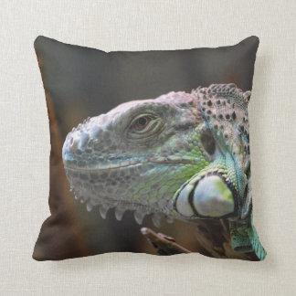 Pillow with head of colourful Iguana lizard