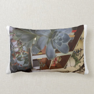Pillow with photo of succulent and book shelf