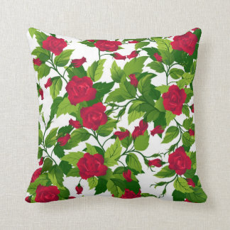 Pillow with red and orange  roses  seamless