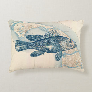 Pillow with retro Sea bass on the map of Cape Cod