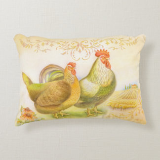 Pillow with rooster and hen in Italian countryside Accent Pillow