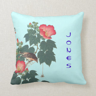 Pillow with Vintage Oriental Nature Image & Name