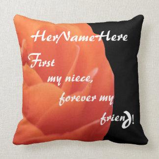 PillowRosesRRed-SQ2020_First My Niece© Throw Pillow