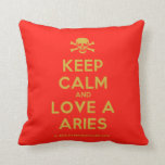 [Skull crossed bones] keep calm and love a aries  Pillows