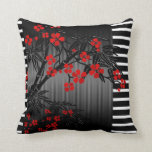 "Pillows Asian Black Red Bamboo Blossom<br><div class=""desc"">Pillows Asian Black White Red Bamboo Blossom cushions cushion, lounge, couch, sofa, zizzago</div>"