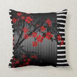 Pillows Asian Black Red Bamboo Blossom Pillow