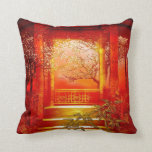 Pillows Asian Gold Red Bamboo Blossom