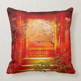 Pillows Asian Gold Red Bamboo Blossom throwpillow
